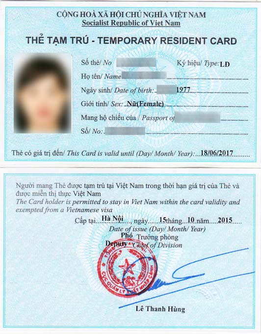 Sample-of-Vietnam-temporary-residence-card Vietnamese Visa Application Form Sample on insurance form, invitation letter form, job search form, green card form, visa passport, visa application letter, visa invitation form, visa ds-160 form sample, tax form, visa documents folder, work permit form, travel itinerary form, passport renewal form, nomination form, doctor physical examination form,